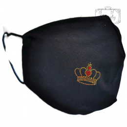 BLACK COTTON PROTECTIVE MASK WITH GOLDEN ROYAL CROWN